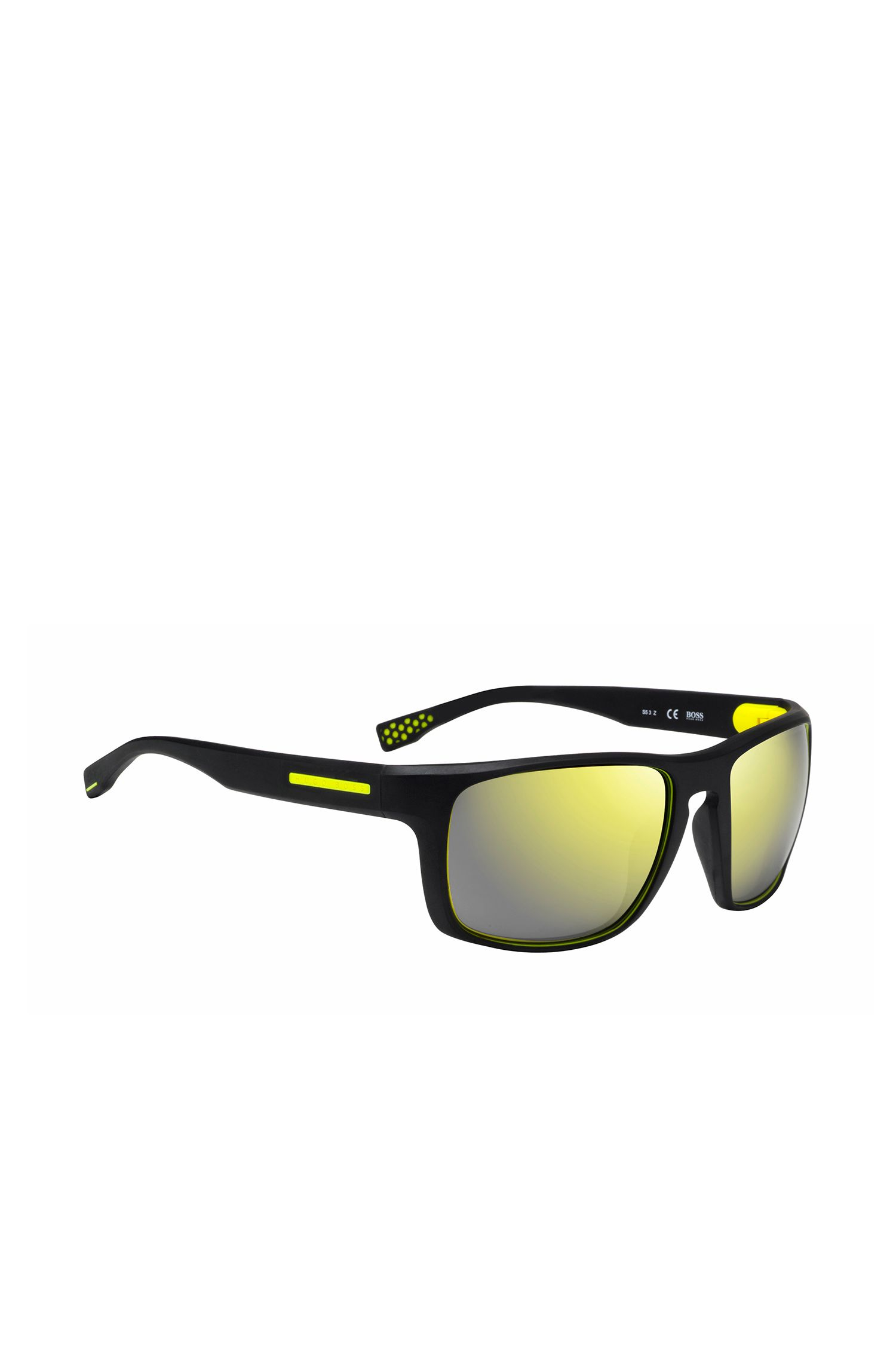 Zwarte zonnebril met rechthoekig, volledig montuur: 'BOSS 0800/S'
