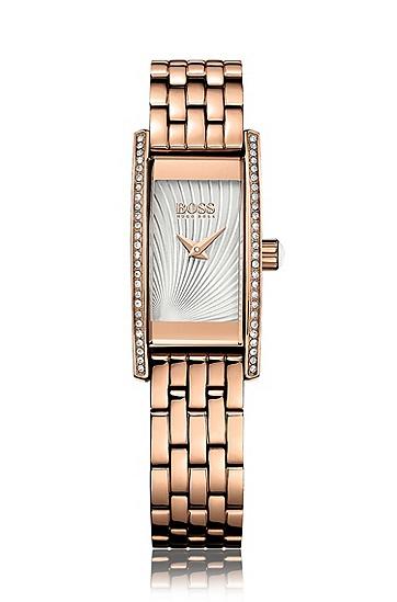 Rechteckige Armbanduhr mit Quarzwerk und Schmucksteinchen: 'Ladies Cocktail', Assorted-Pre-Pack