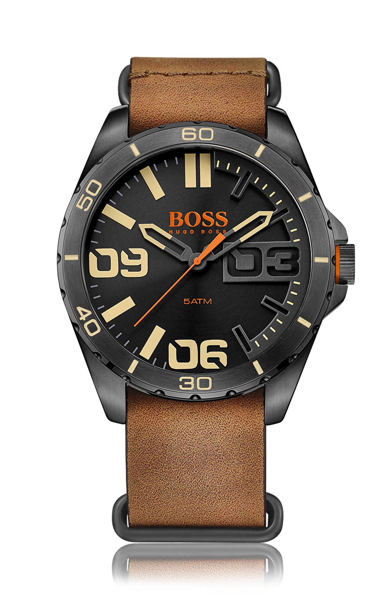 Chronographe à quartz avec boîtier en acier inox et bracelet en cuir: «Berlin»