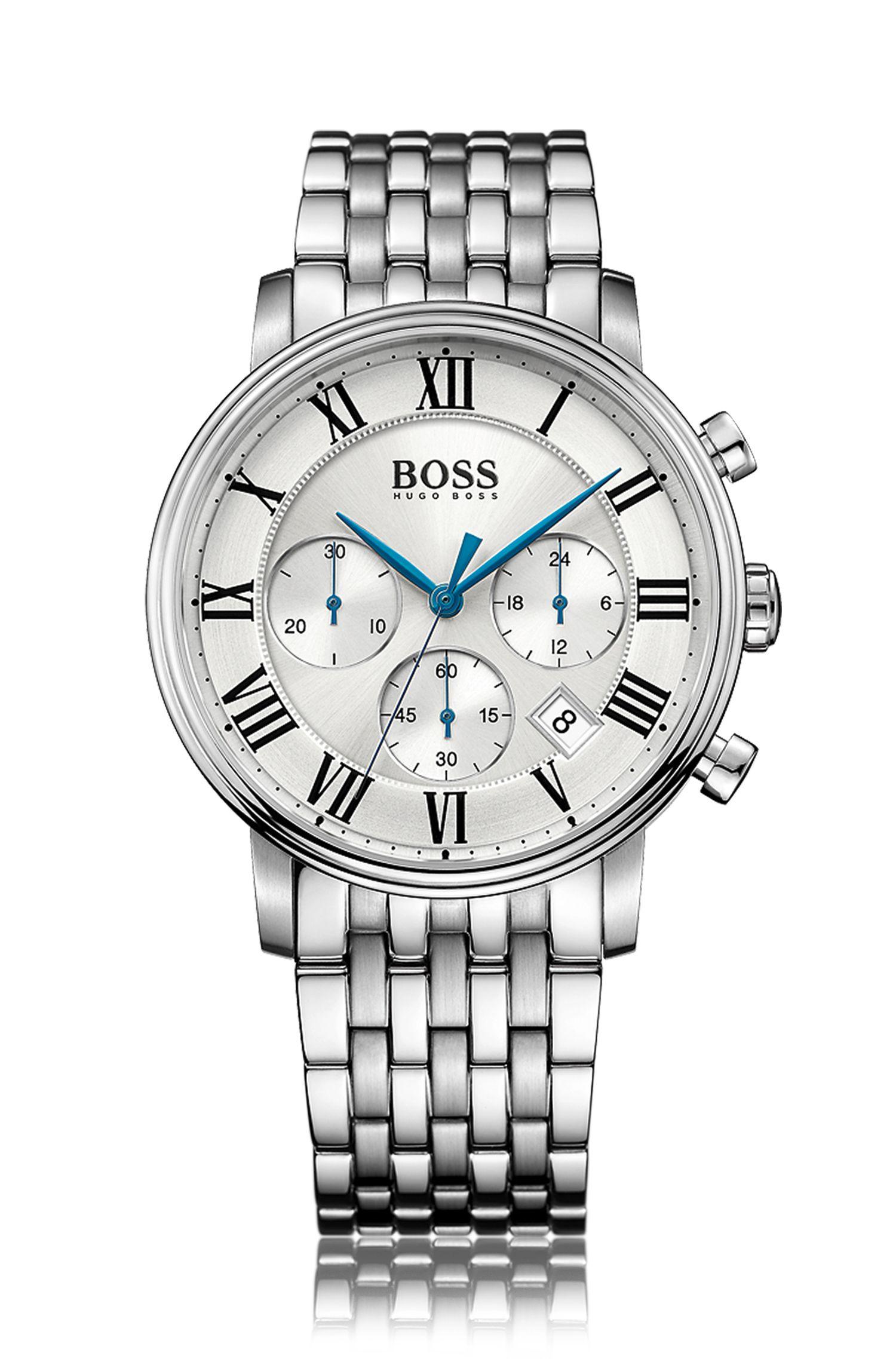 Chronographe à quartz en acier inoxydable avec bracelet à maillons: «Elevation»