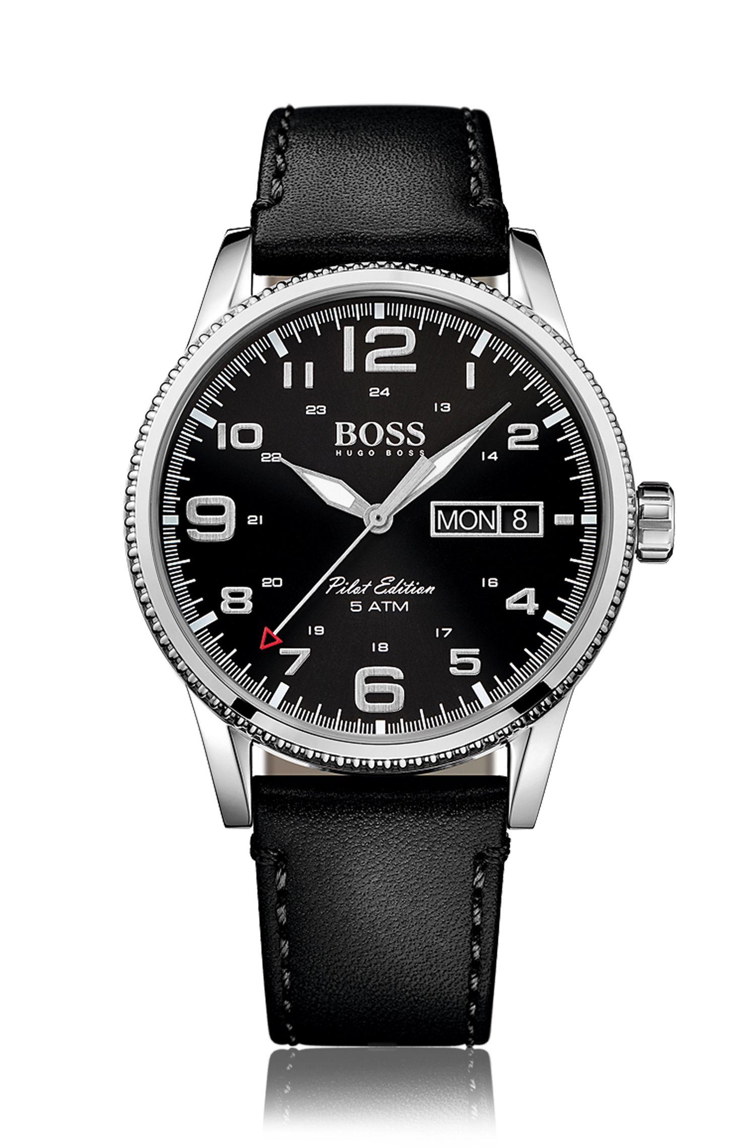 Armbanduhr mit Quarzwerk und zentraler Sekunde: 'Pilot Vintage'