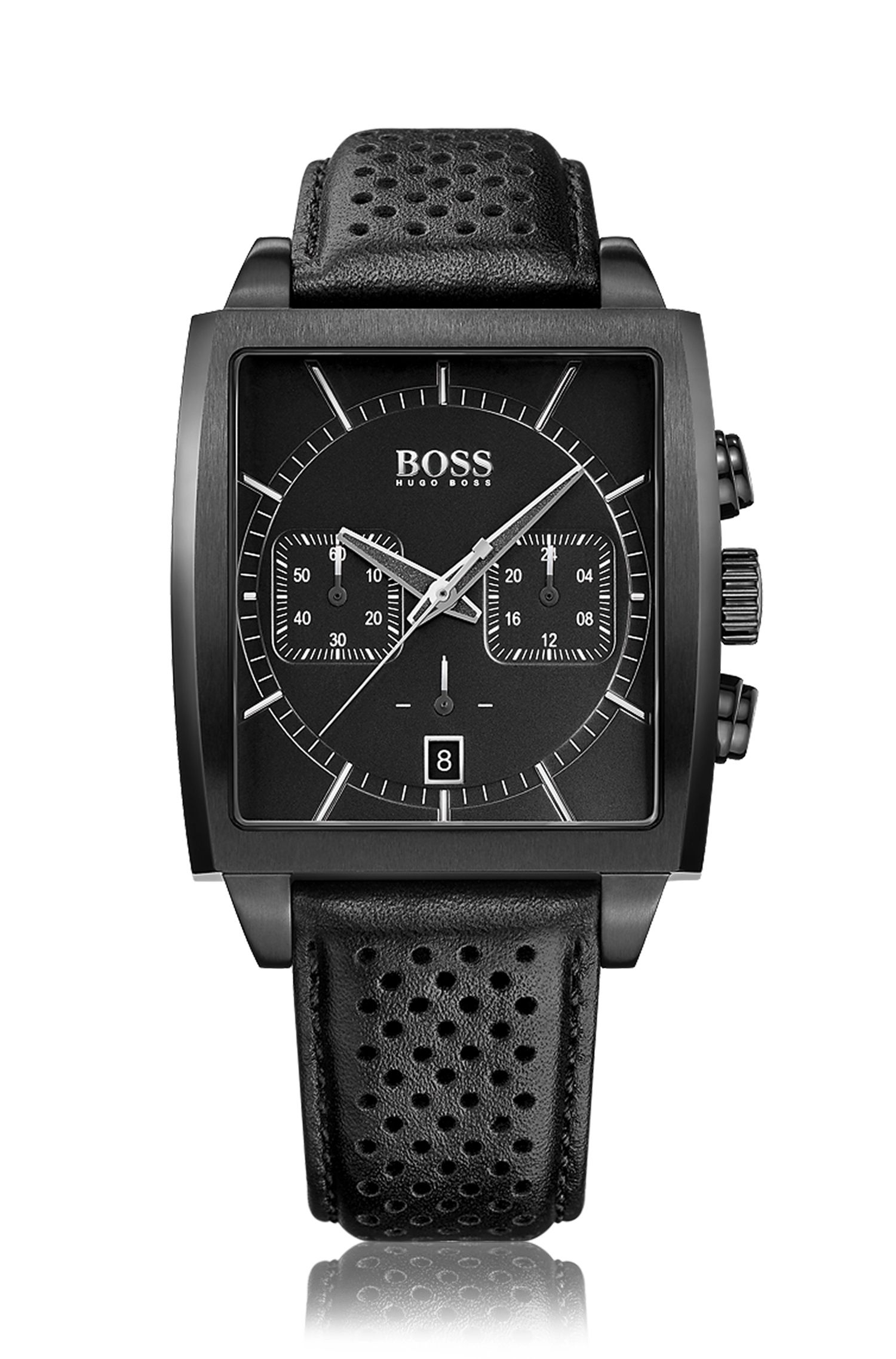 Chronographe rectangulaire avec bracelet en cuir perforé: «HB1005»
