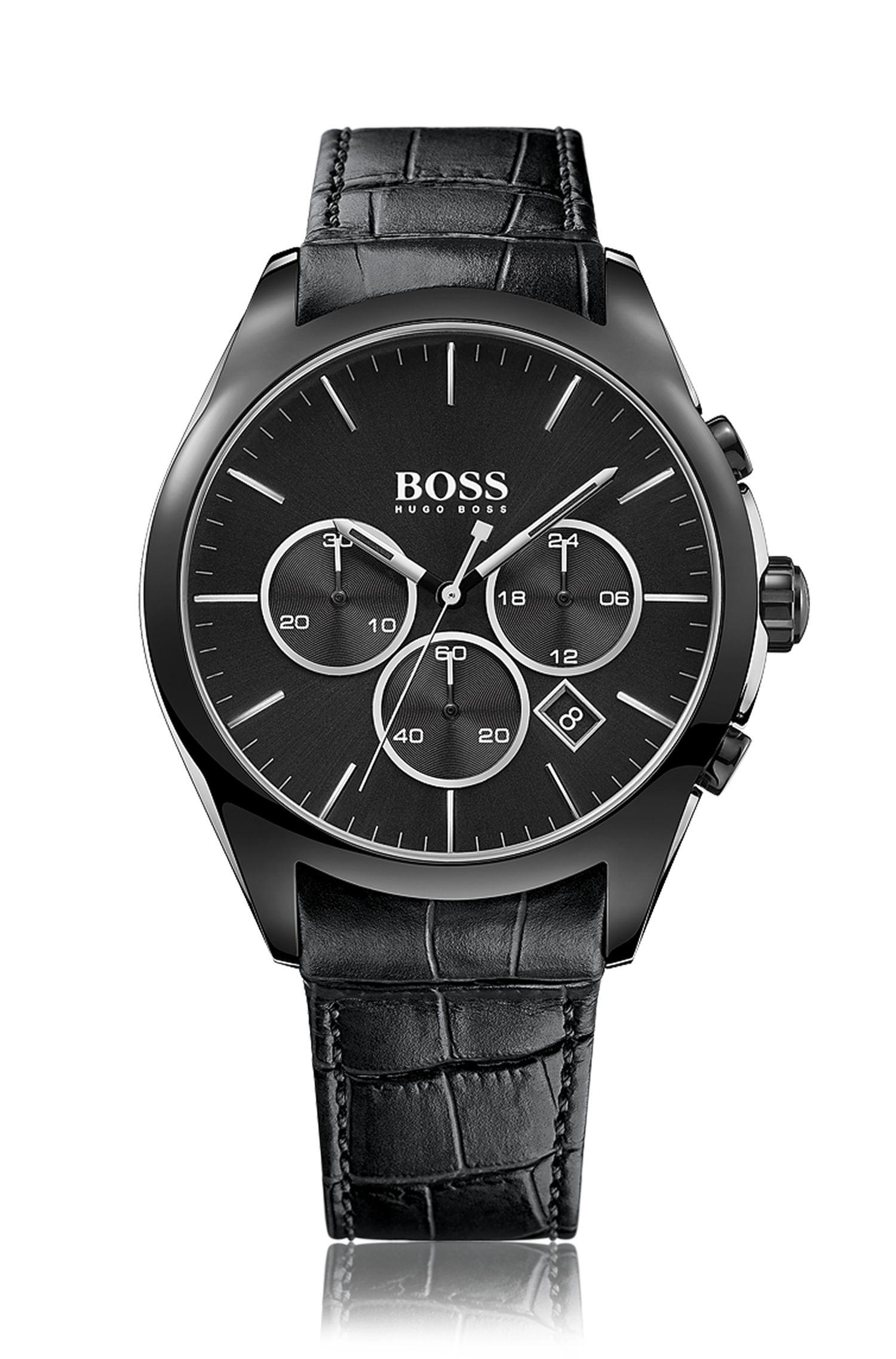 Chronograph with a quartz movement and a leather strap: 'Onyx'