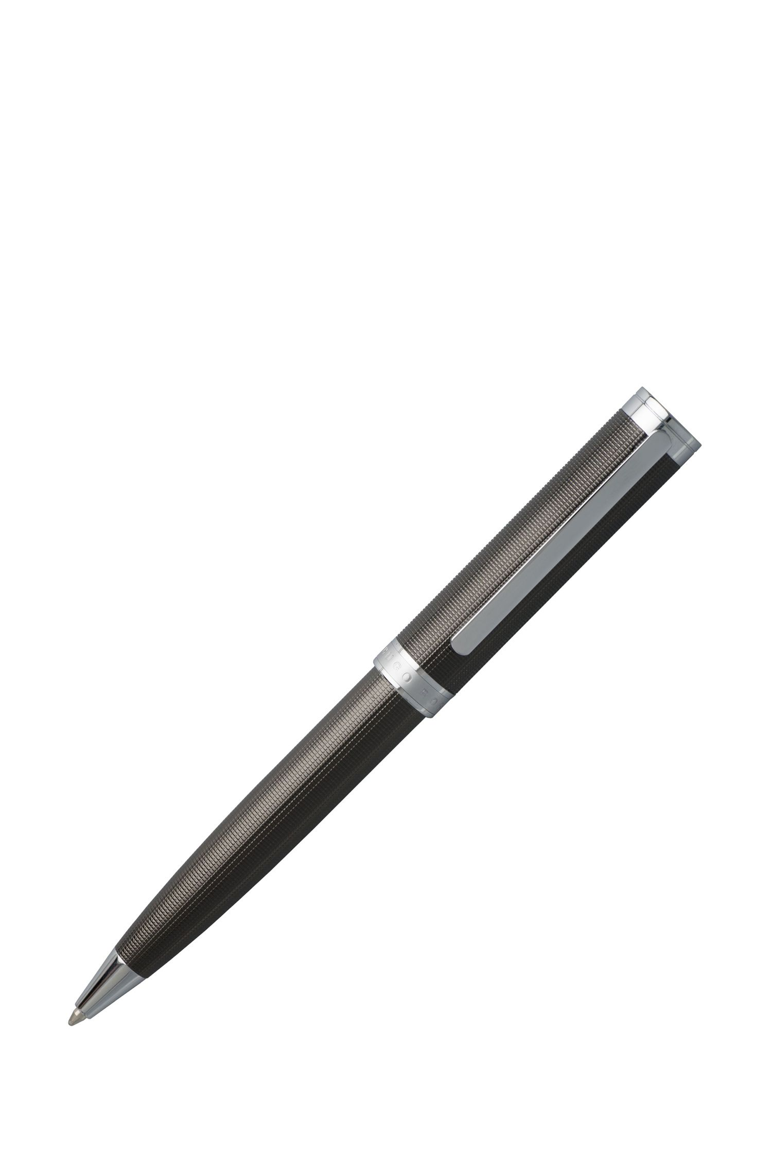 Stylo en laiton structuré : « Column Dark Chrome »