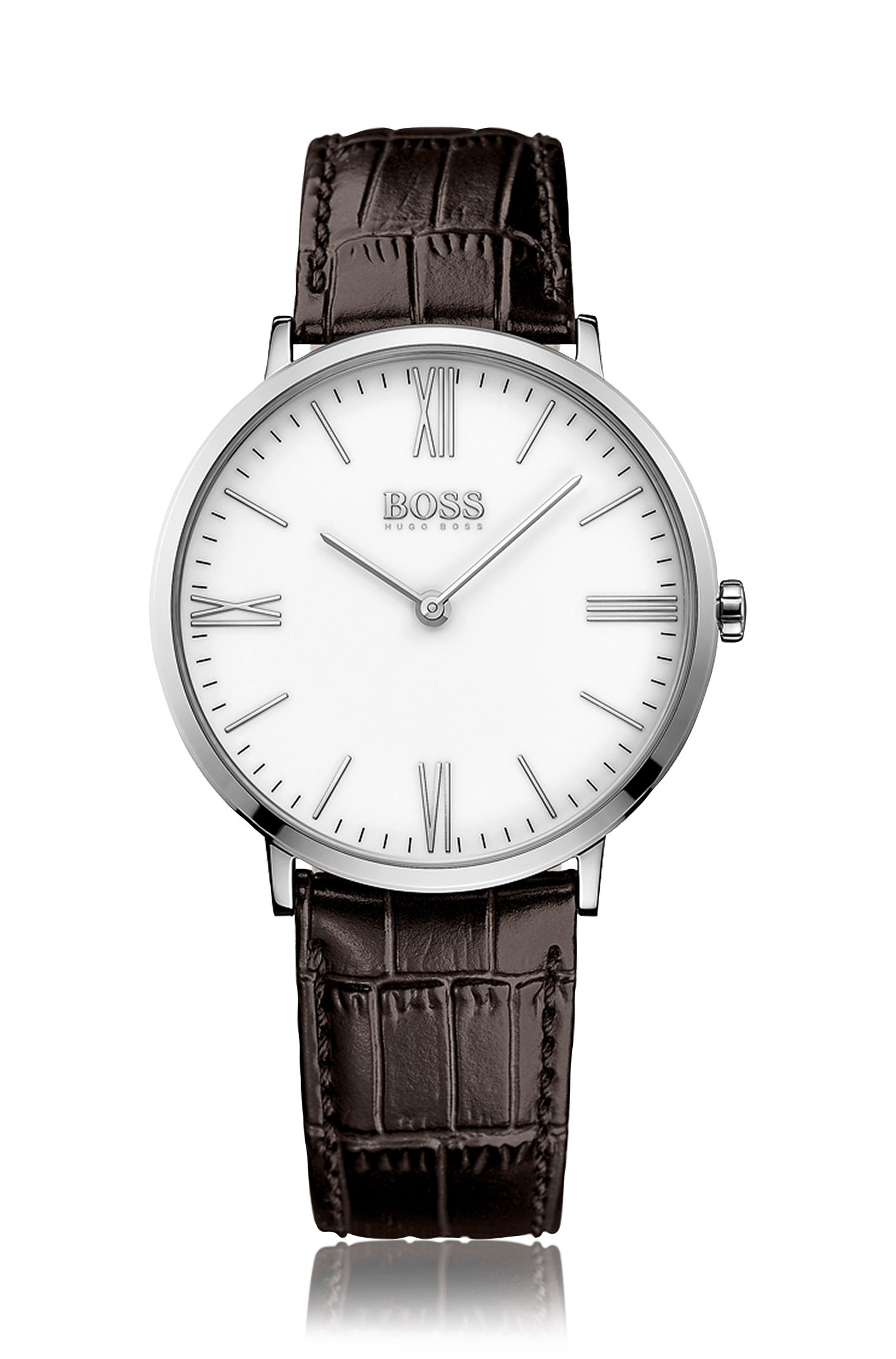 Wristwatch with a quartz movement and an embossed leather strap: 'Jackson'