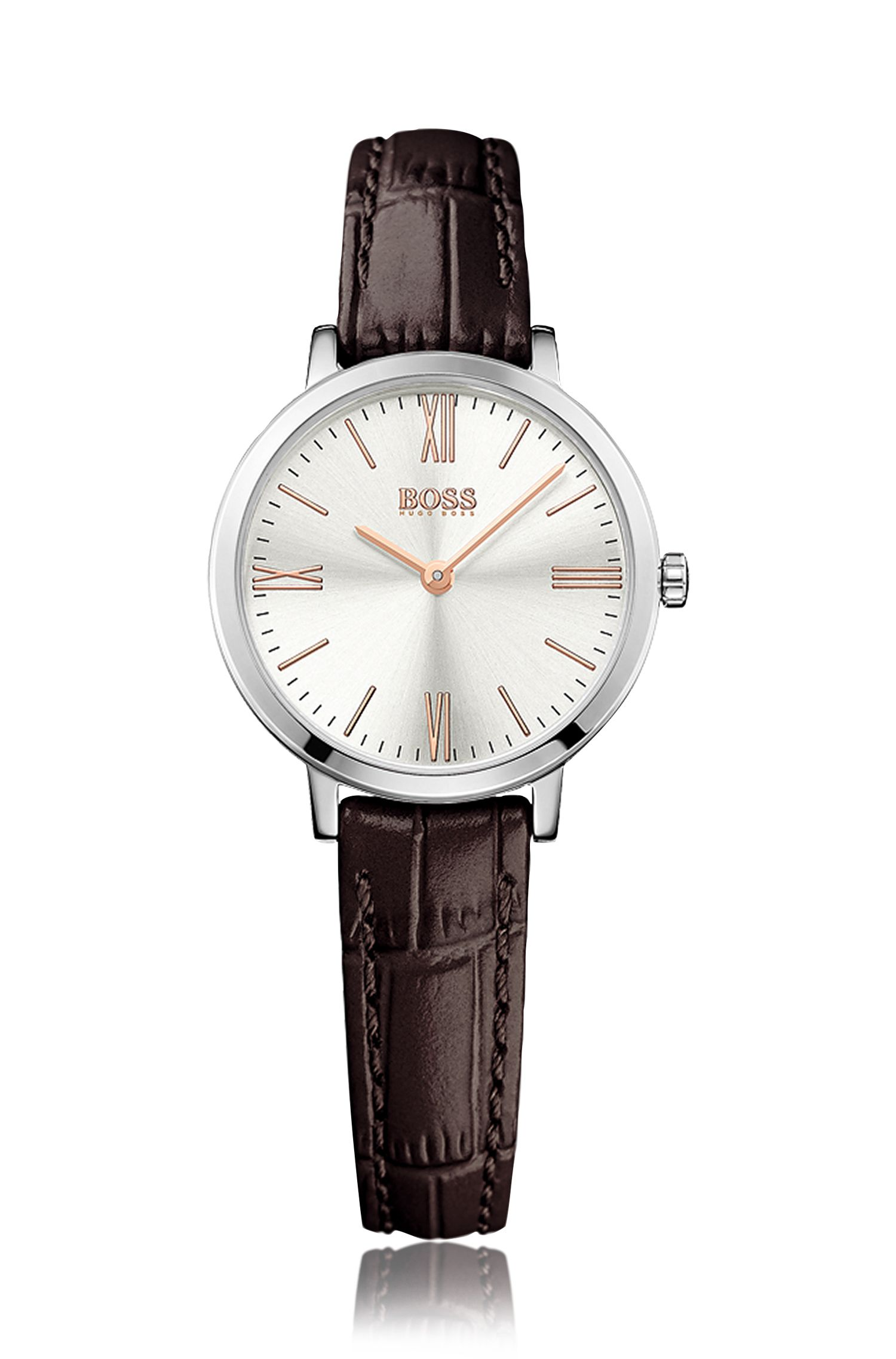 Wristwatch with round stainless steel case and embossed leather strap: 'Jilian'