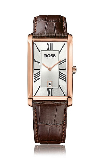 Zwei-Zeiger-Uhr mit geprägtem Lederarmband und Datumsanzeige: 'Admiral', Assorted-Pre-Pack