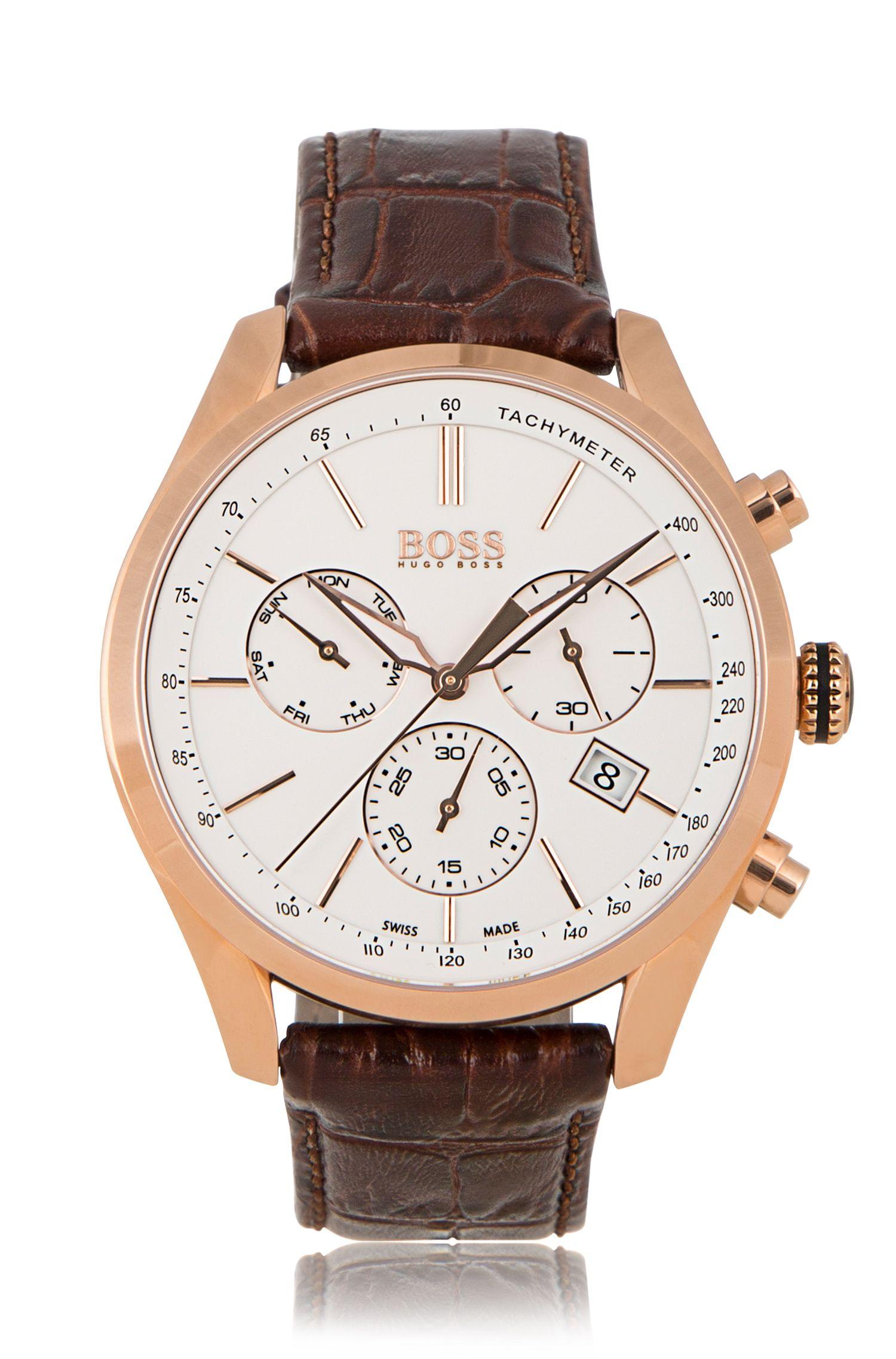 Chronographe avec mouvement à quartz et bracelet en cuir: «BOSS Signature Timepiece Chrono»