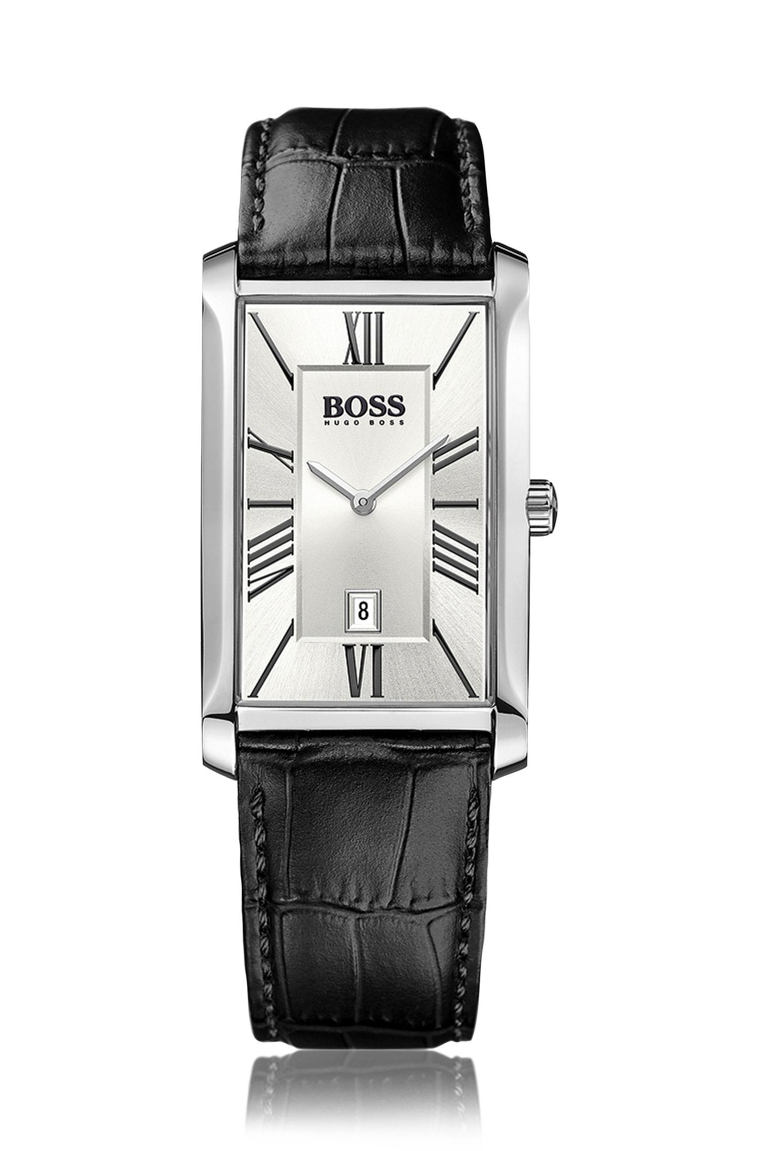 Horloge met leren polsband, twee wijzers en datumweergave: 'Admiral'