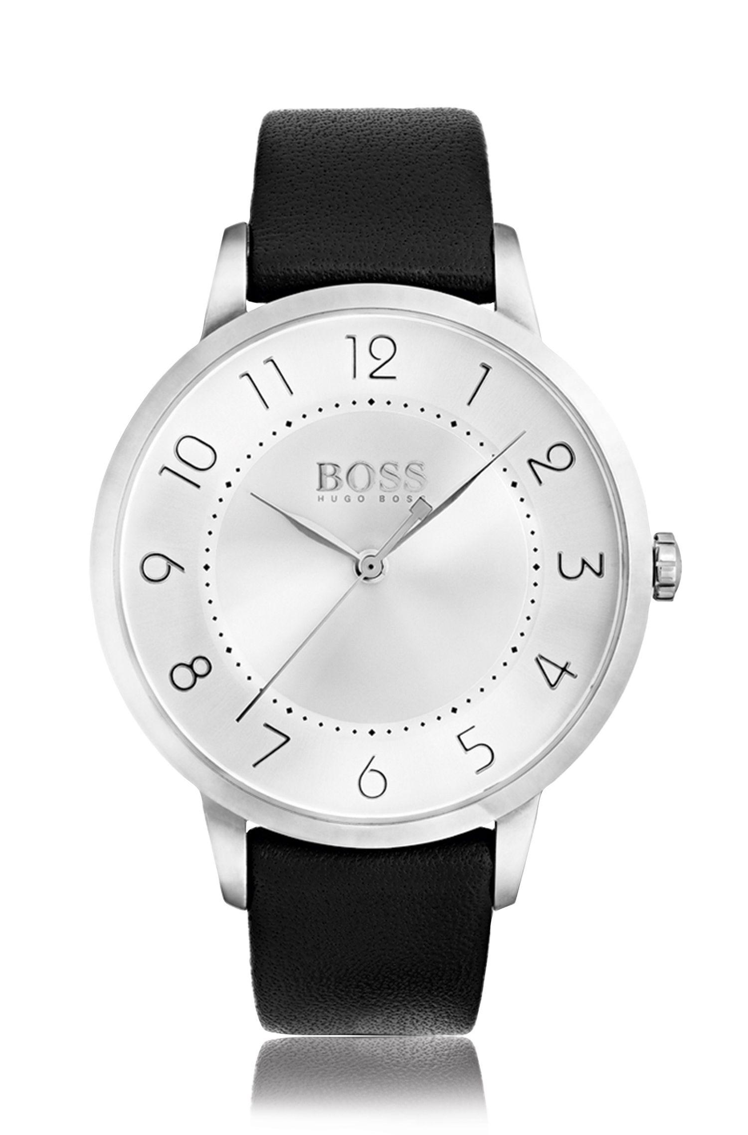 Drei-Zeiger-Uhr aus Edelstahl mit Leder-Armband: 'Eclipse'