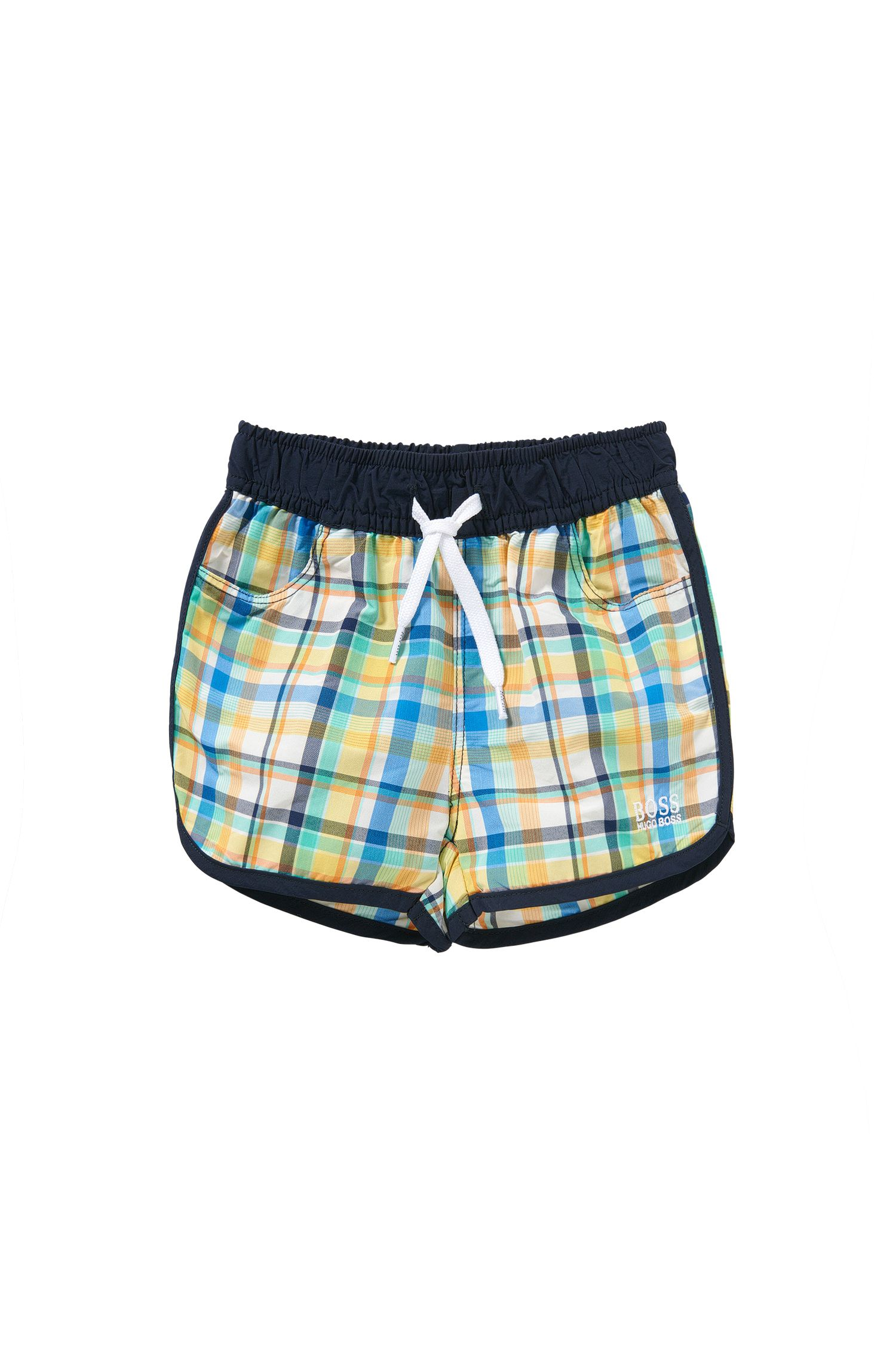 Checked newborns' swim shorts with drawstring waistband: 'J04230'