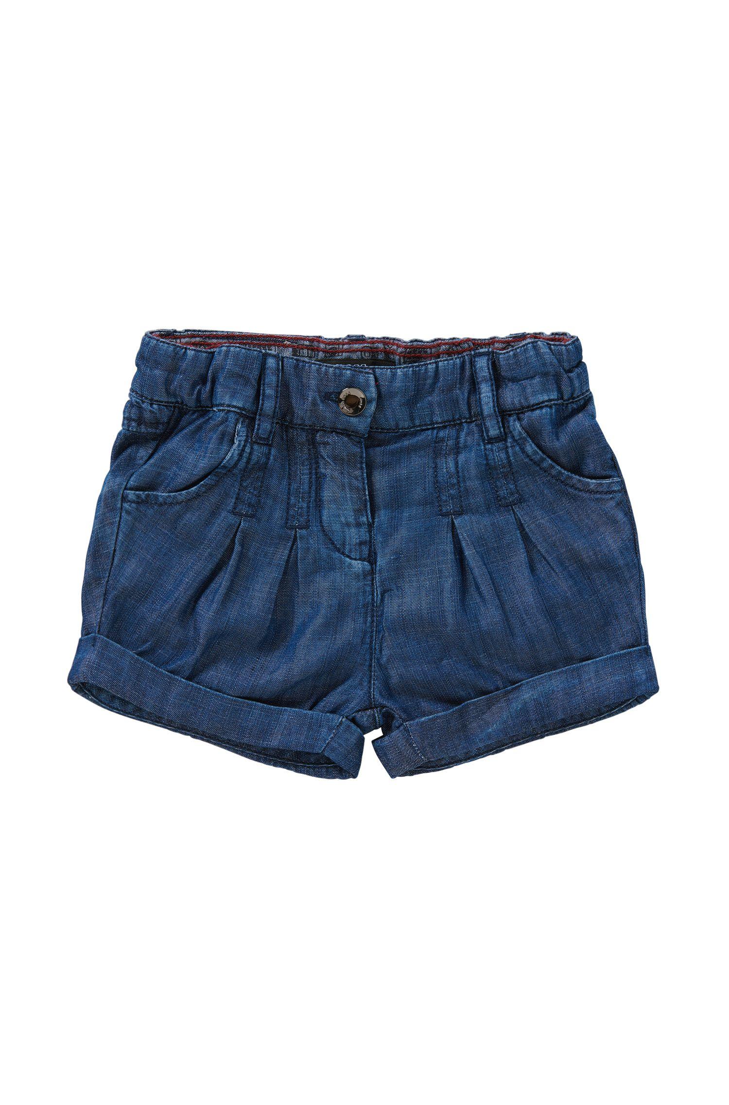 Pantaloncini corti per neonati regular fit con effetto denim e vita elasticizzata: 'J04236'