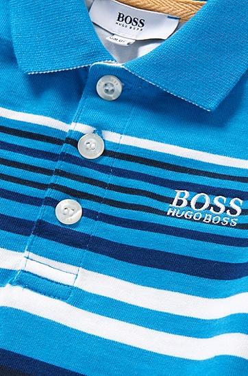 Gestreiftes Baby-Poloshirt aus Baumwolle mit Struktur-Details: 'J05444', Türkis