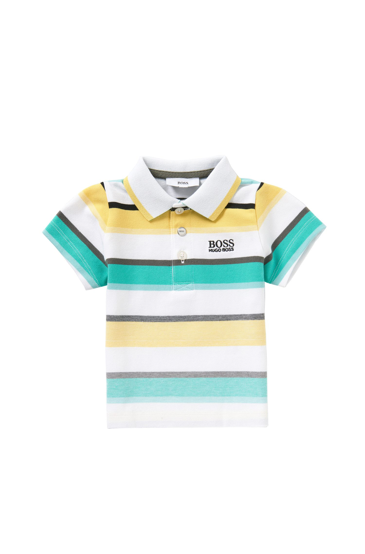 Striped newborns' polo shirt in stretch cotton: 'J05446'