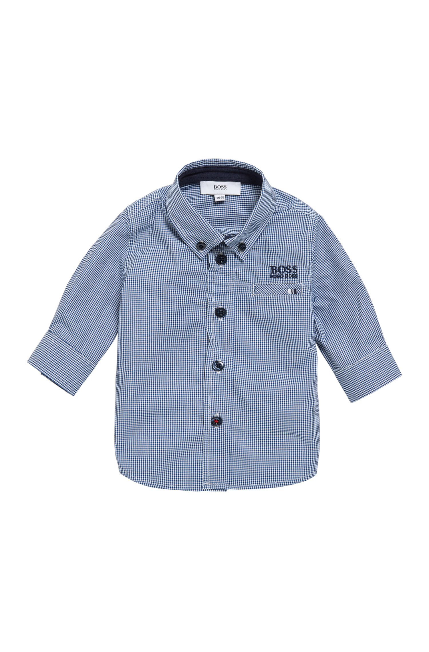 Newborn cotton shirt in a check design: 'J05509'