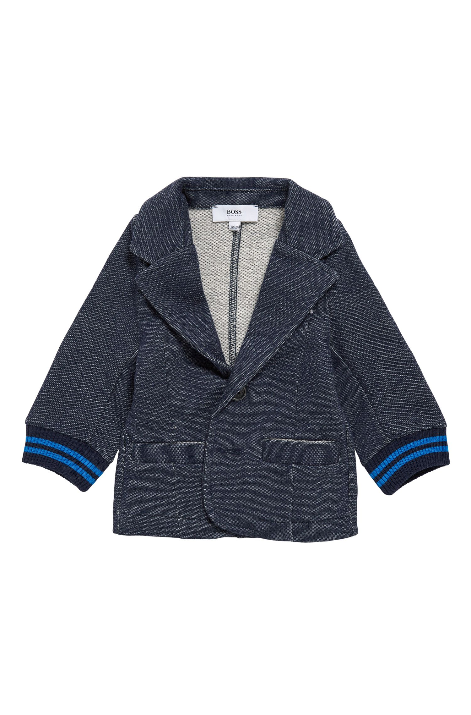 Newborn jacket in a stretch cotton blend that looks like denim: 'J05520'