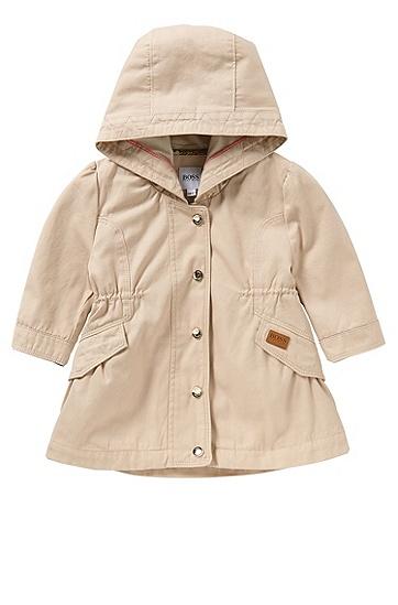 Baby-Jacke aus Stretch-Baumwolle mit Kapuze und Tunnelzug: 'J06140', Hellbeige