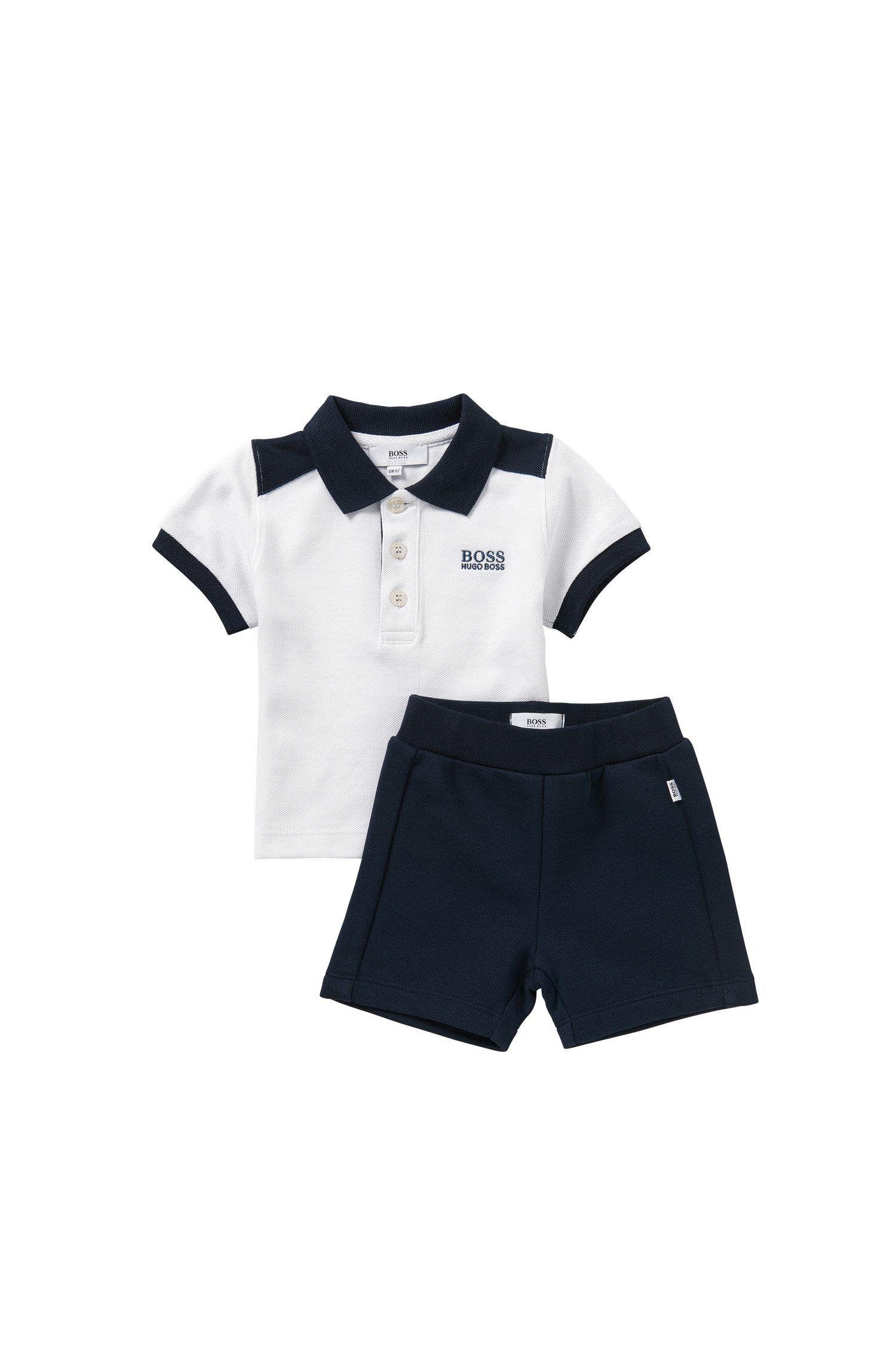 Baby set formato da maglietta stile polo e pantaloncini corti in felpa: 'J08016'