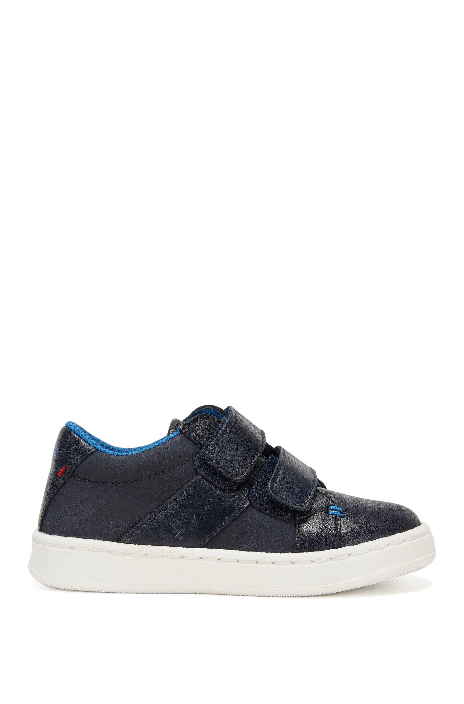 Kids? leather trainers with touch closure `J09089`