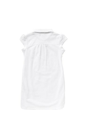 Kids-Kleid aus Stretch-Baumwolle im Polo-Stil: 'J12143', Weiß