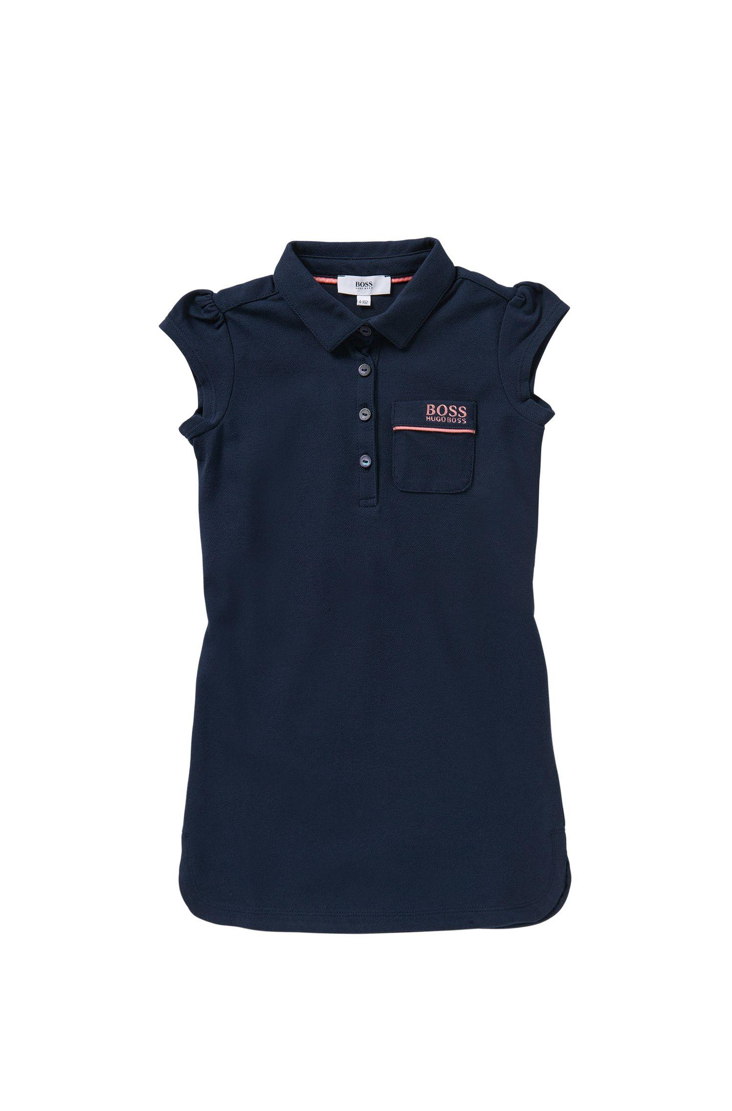 Kids-Kleid aus Stretch-Baumwolle im Polo-Stil: 'J12143'