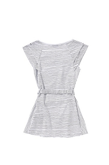 Gestreiftes Kids-Kleid aus Baumwolle mit Gürtel: 'J12148', Gemustert