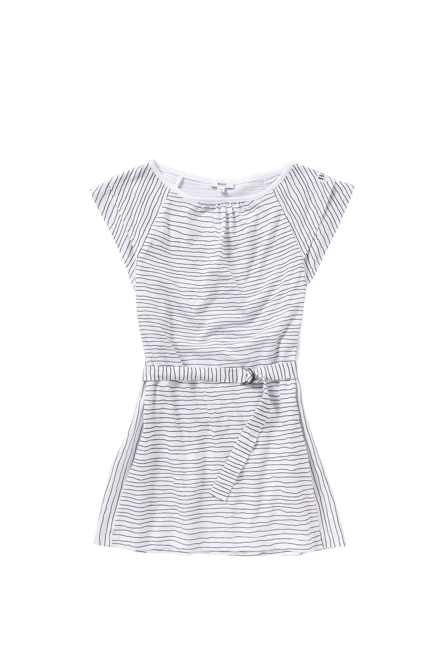 Gestreiftes Kids-Kleid aus Baumwolle mit Gürtel: 'J12148'