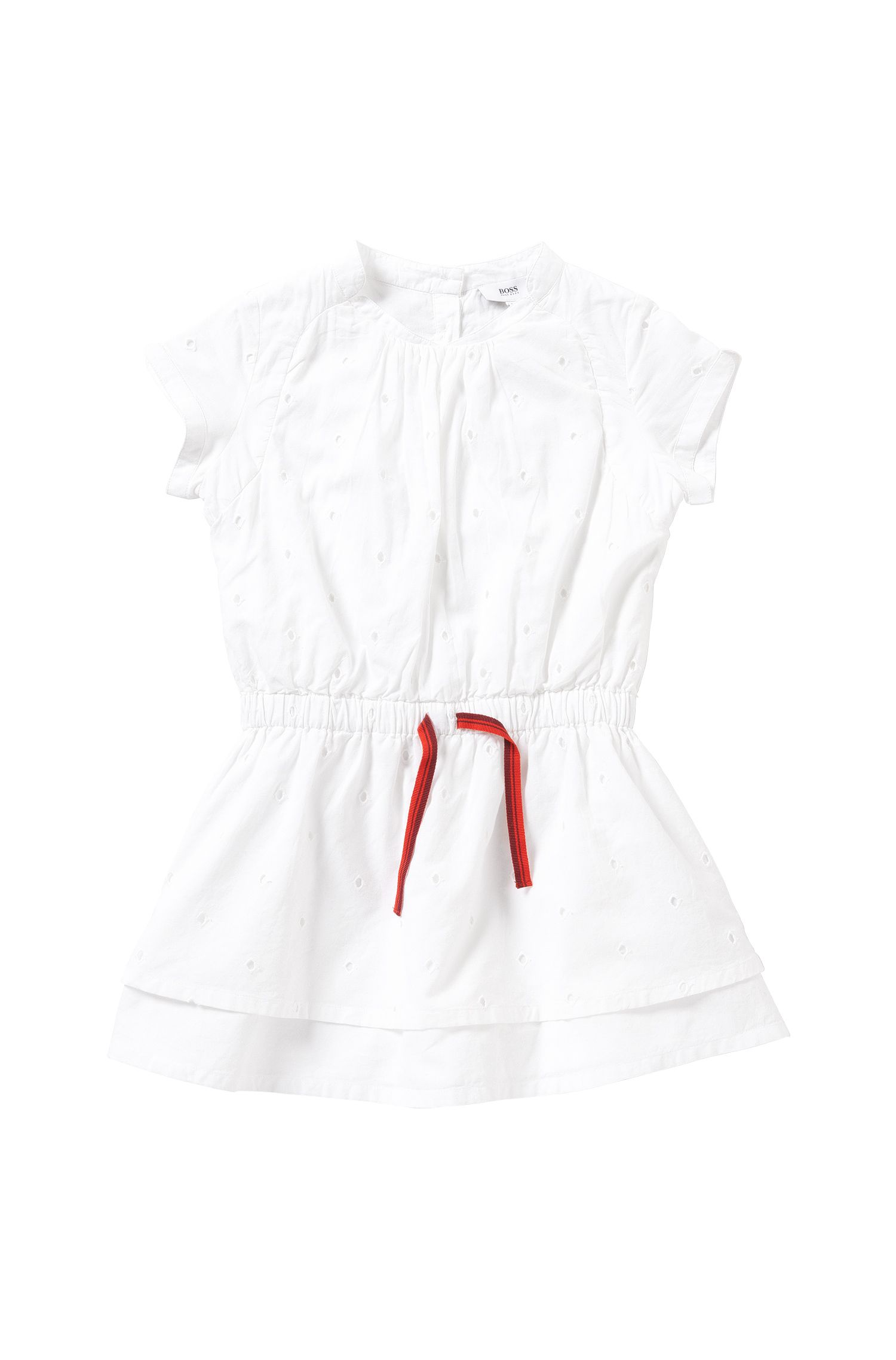 Kids' cotton dress with elastic drawstring: 'J12150'