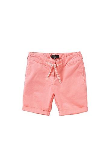 Regular-Fit Kids-Shorts aus Baumwolle mit Schleifen-Detail: 'J24410', Hellrosa