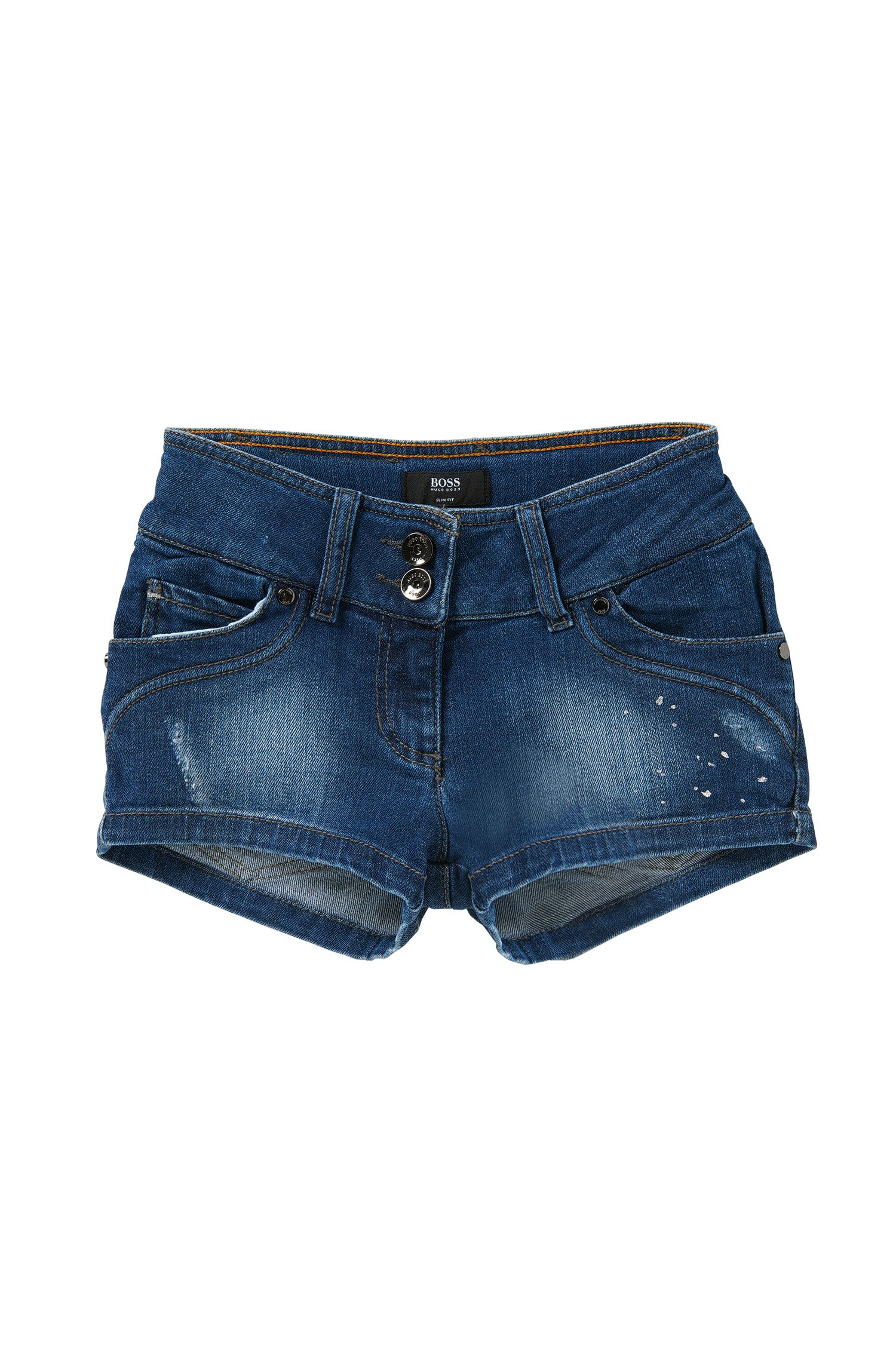 Slim-fit kids' shorts in stretch cotton