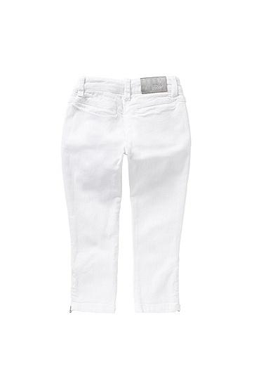 Slim-Fit Kids-Jeans aus Stretch-Baumwolle mit Zier-Zippern: 'J14176', Weiß