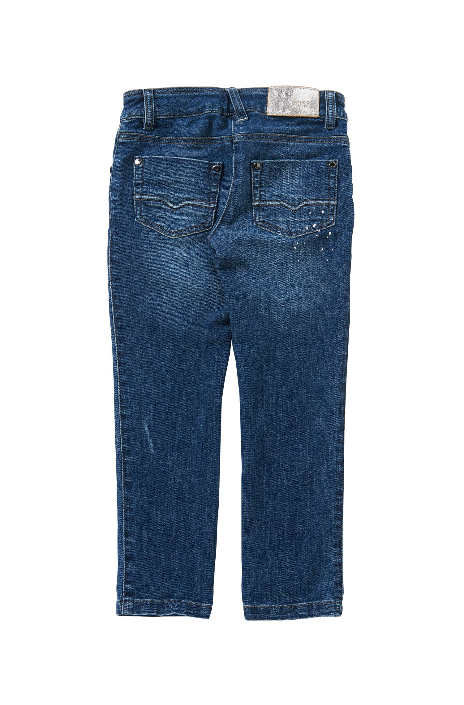 Jeans Regular Fit pour enfant en coton extensible à effets délavés et usés: «J14181»