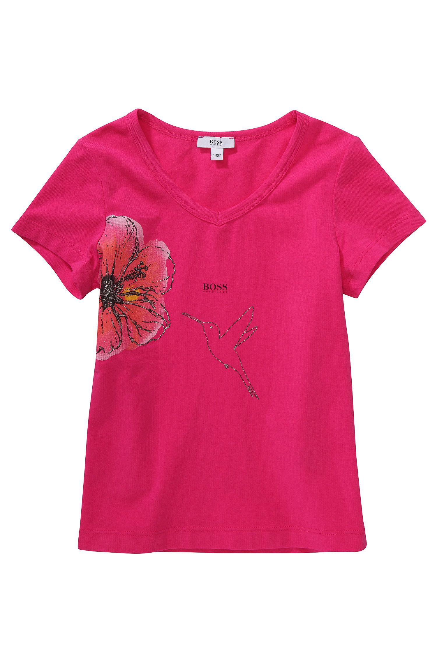 Kinder-T-shirt 'J15292' met bloemen- en kolibrieprint