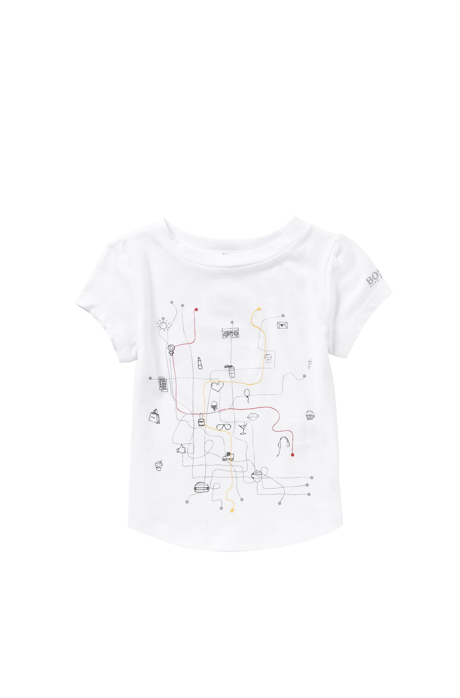 Kids' shirt made from a blend of cotton and modal with a print and embroidery: 'J15338'