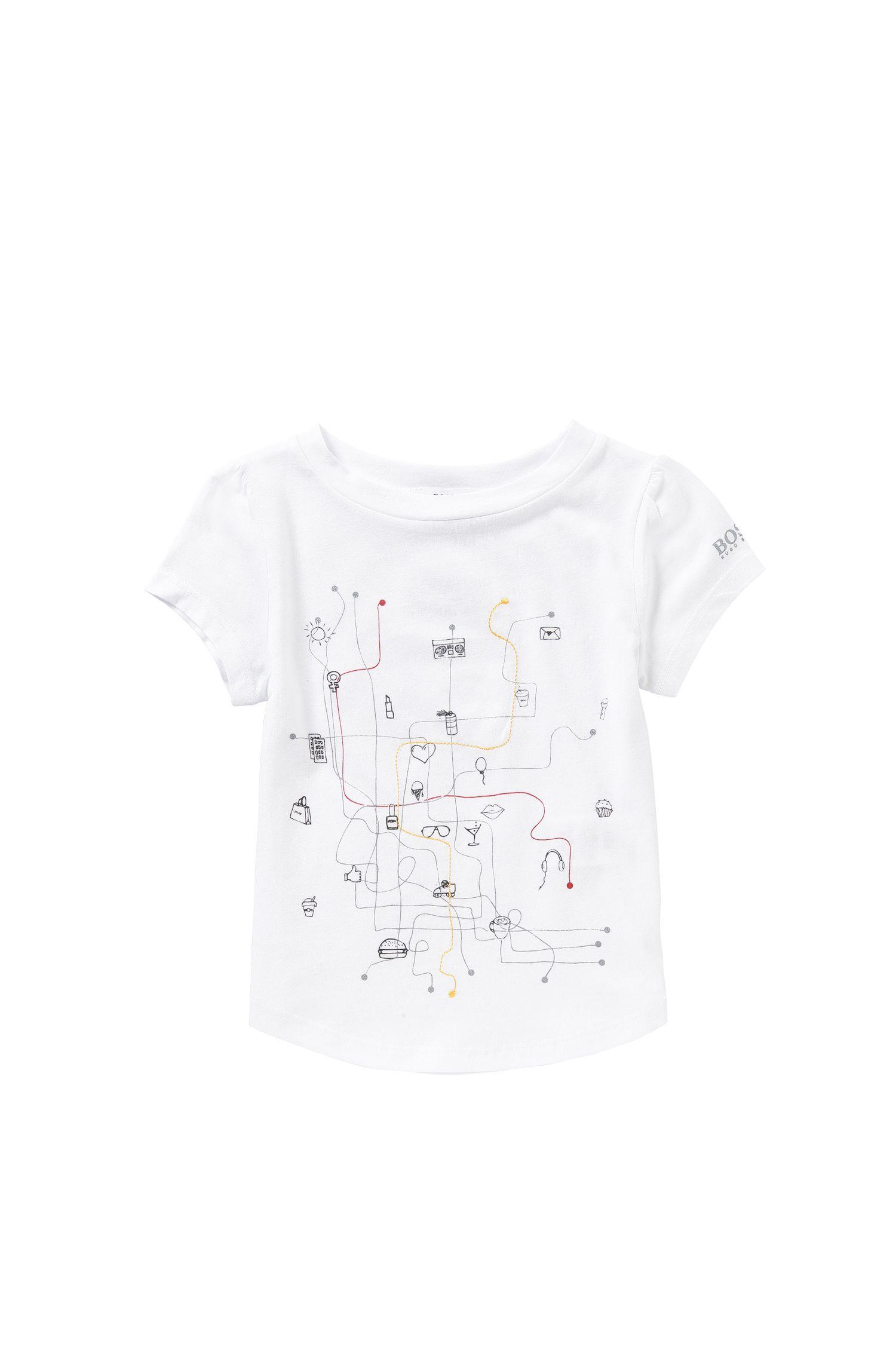 Maglietta da bambina in misto cotone e modal con stampa e ricamo: 'J15338'