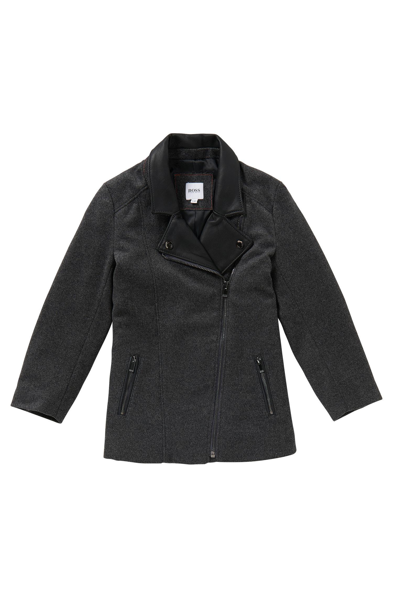 Mantel aus Woll-Mix mit Leder-Besatz: 'J16111'
