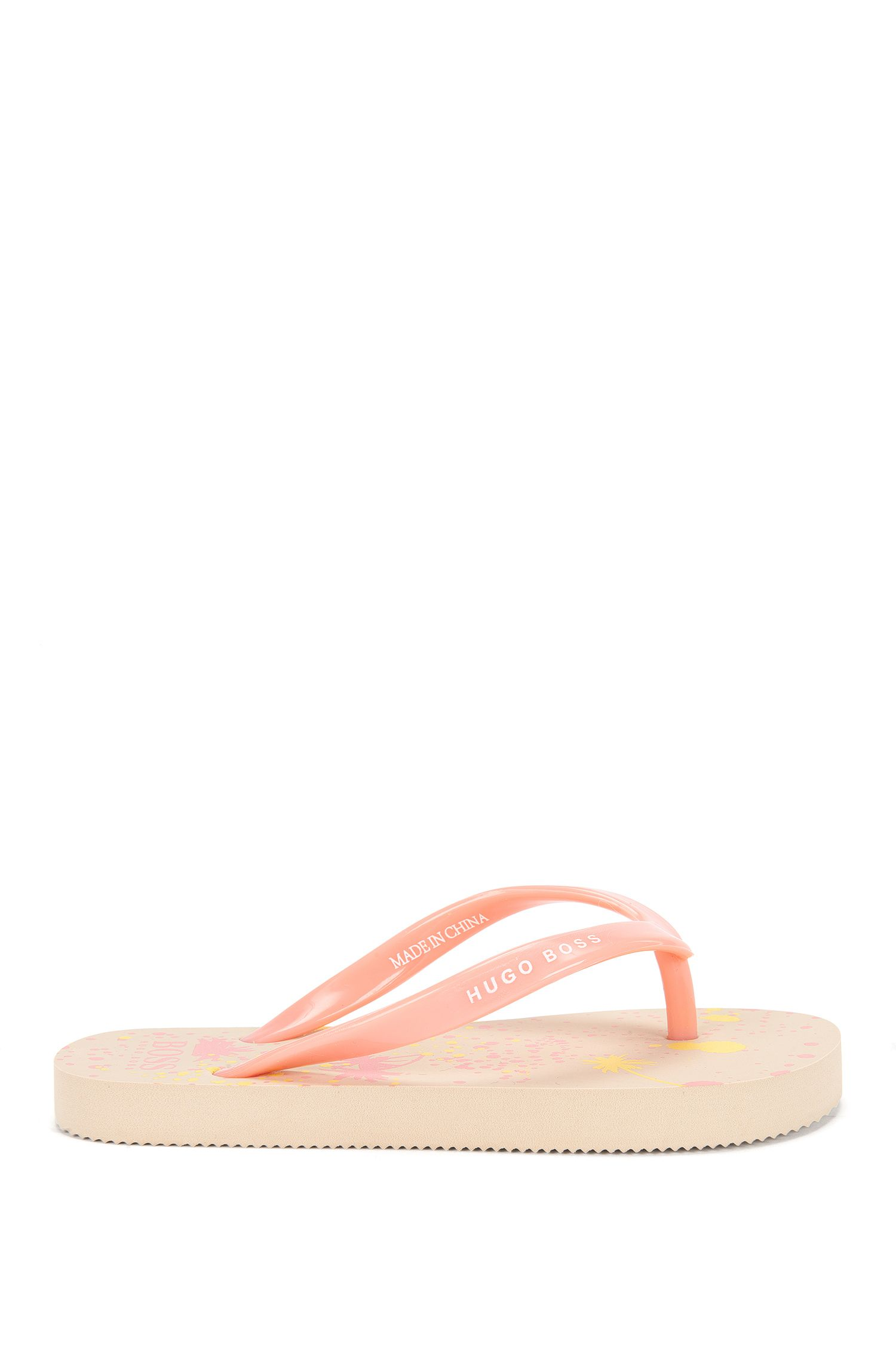 Kids' toe-separator sandals with palm-tree print: 'J19035'