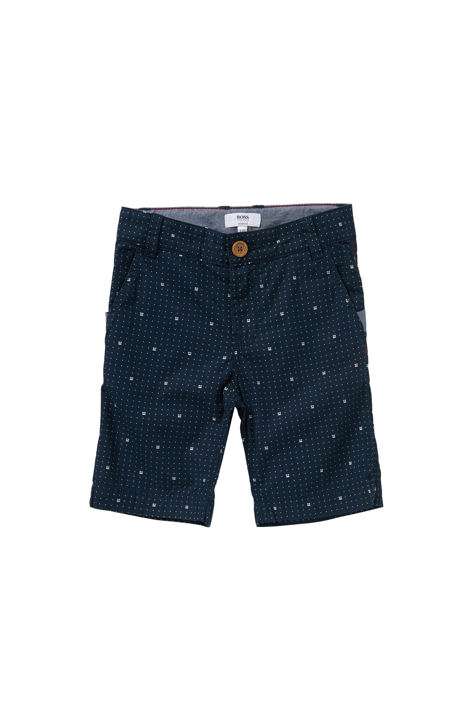 Regular-Fit Kids-Shorts aus gemusterter Baumwolle: 'J24408'