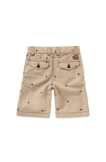 Regular-Fit Kids-Shorts aus Baumwolle mit Stickerei: 'J24410', Beige
