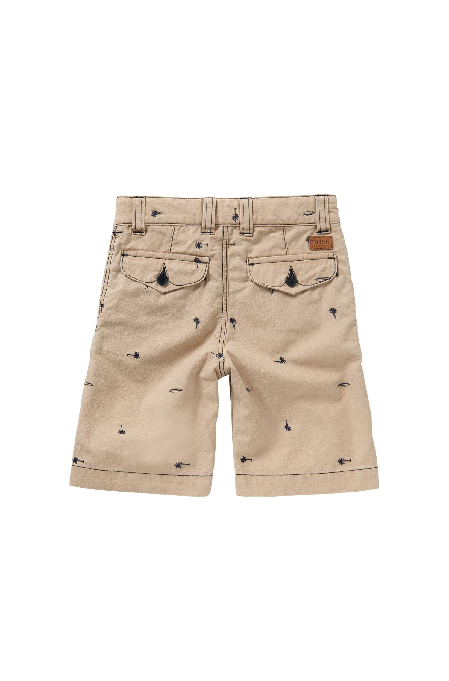 Regular-Fit Kids-Shorts aus Baumwolle mit Stickerei: 'J24410'