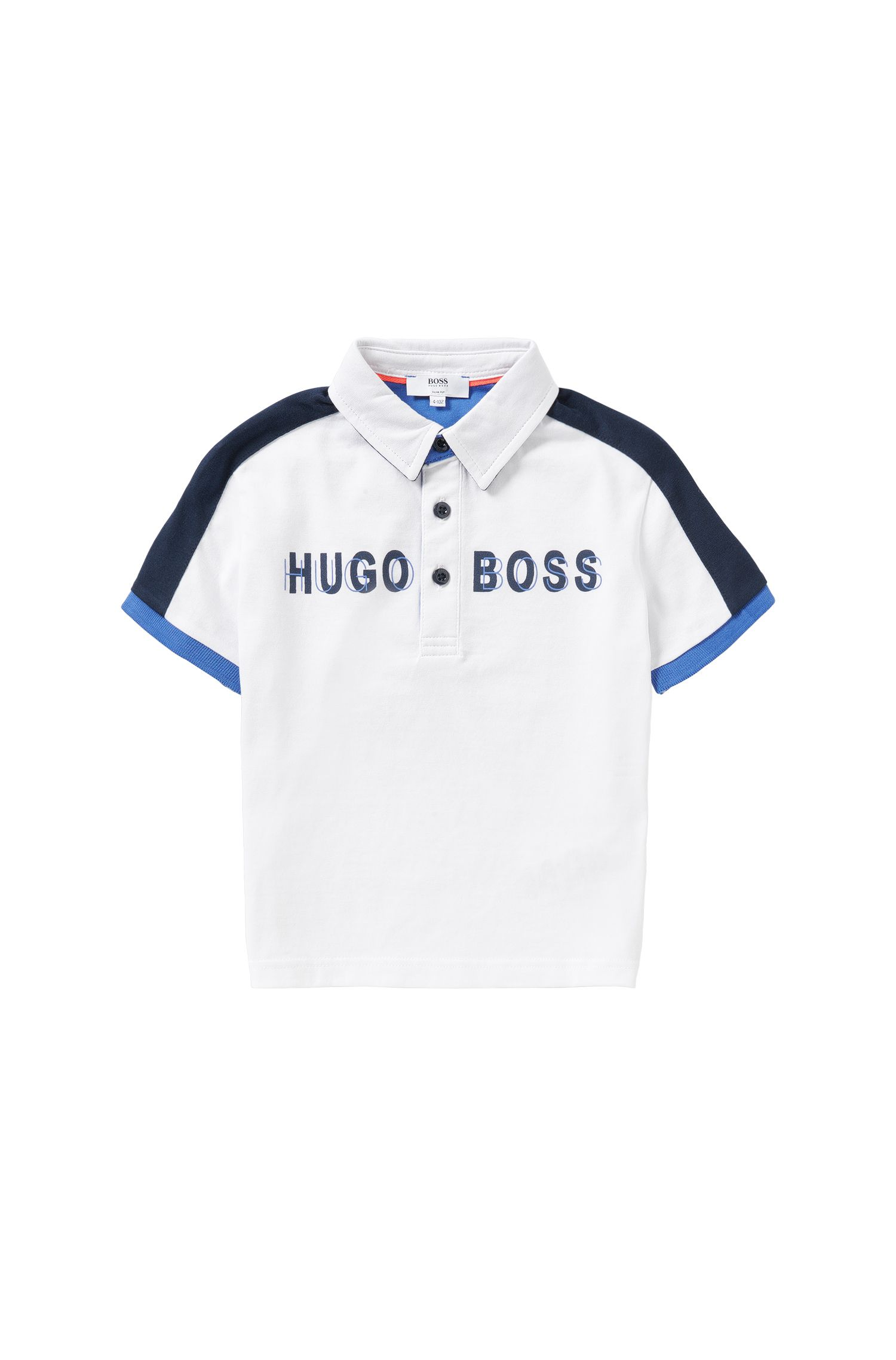 Kids' polo shirt in cotton with logo lettering: 'J25911'
