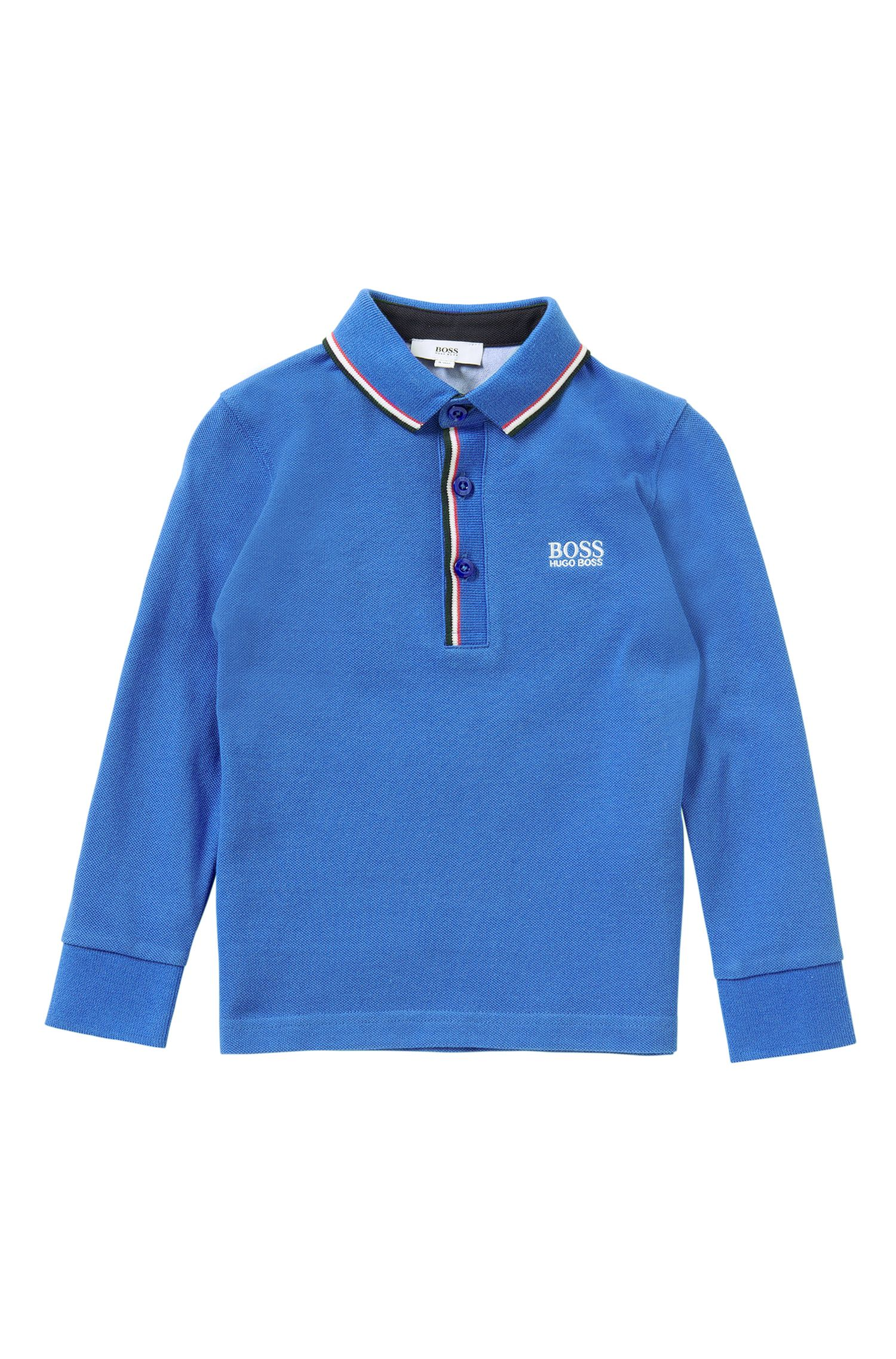 Plain kids' long-sleeved polo shirt in cotton: 'J25925'