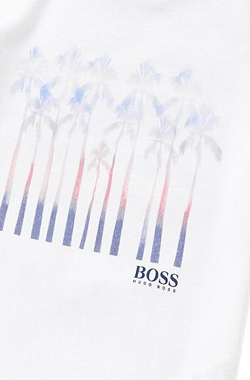 Kids-T-Shirt aus Baumwolle mit Palmen-Print: 'J25970', Weiß