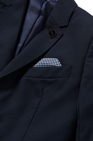 Unifarbenes Kids-Sakko aus Wolle mit integriertem Einstecktuch: 'J26U07', Dunkelblau