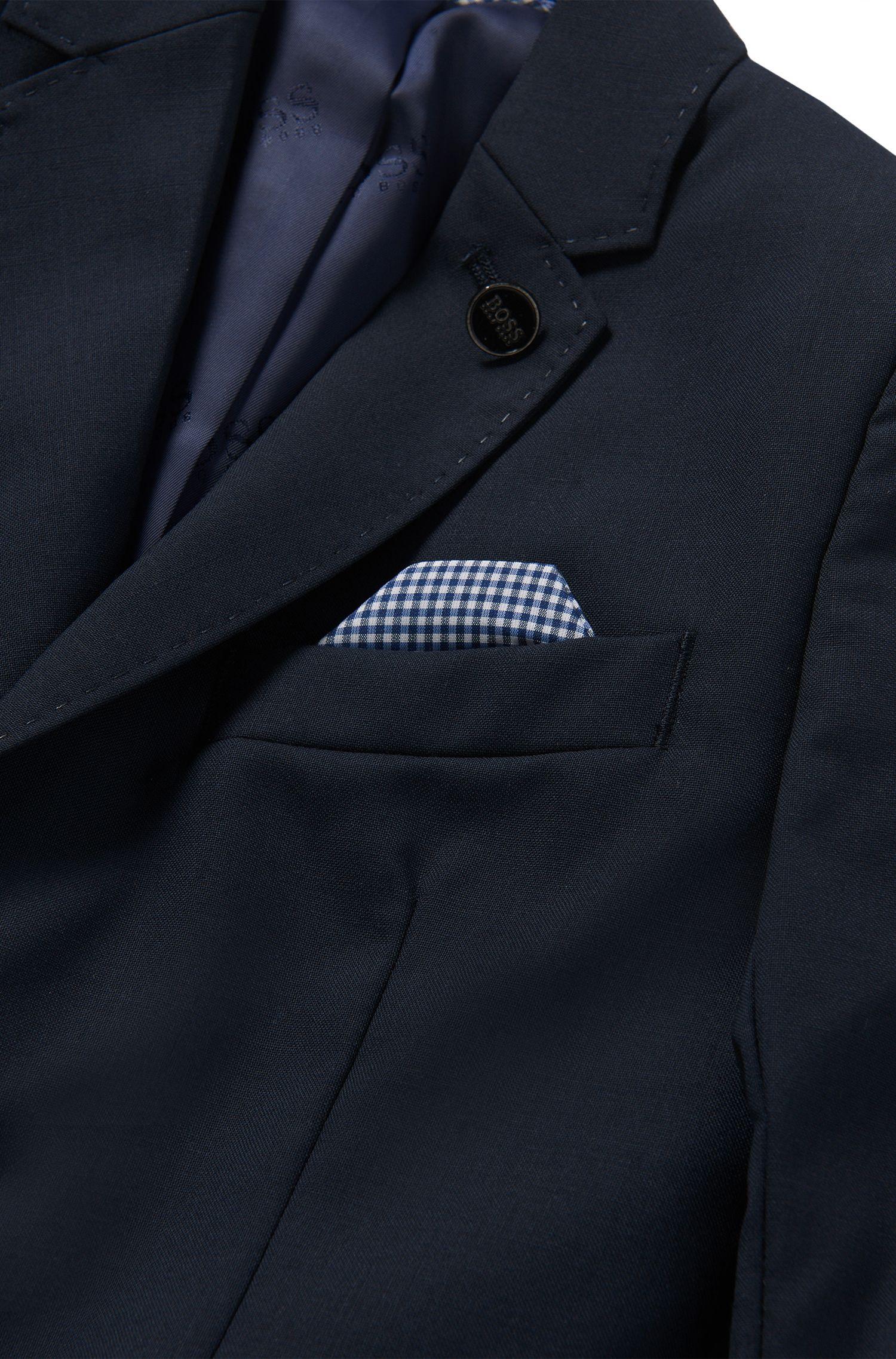 Unifarbenes Kids-Sakko aus Wolle mit integriertem Einstecktuch: 'J26U07'