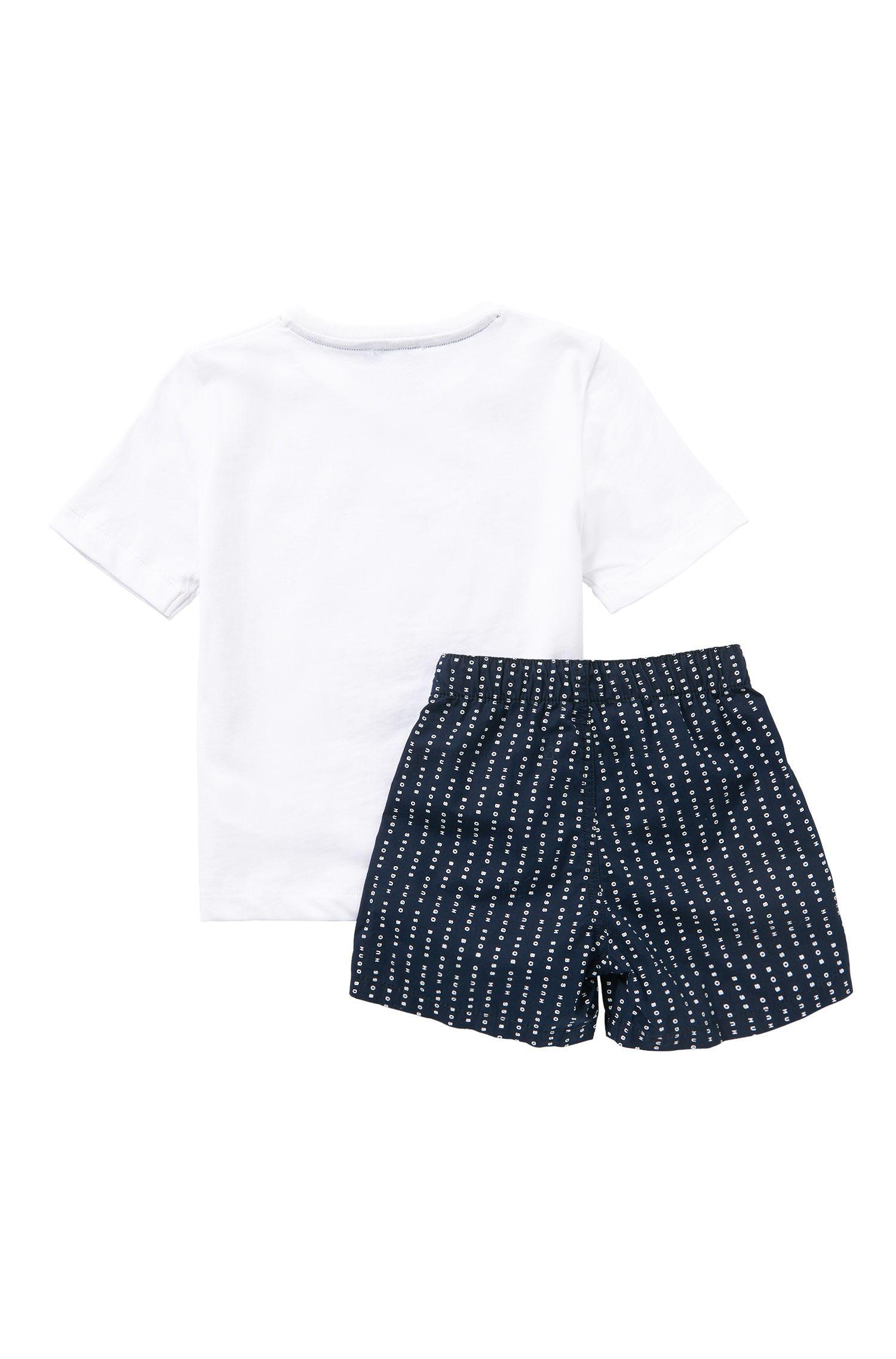 Kids-Schlafanzug aus Baumwolle mit Logo-Schriftzügen: 'J28044'