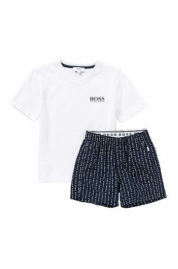 Kids-Schlafanzug aus Baumwolle mit Logo-Schriftzügen: 'J28044', Dunkelblau