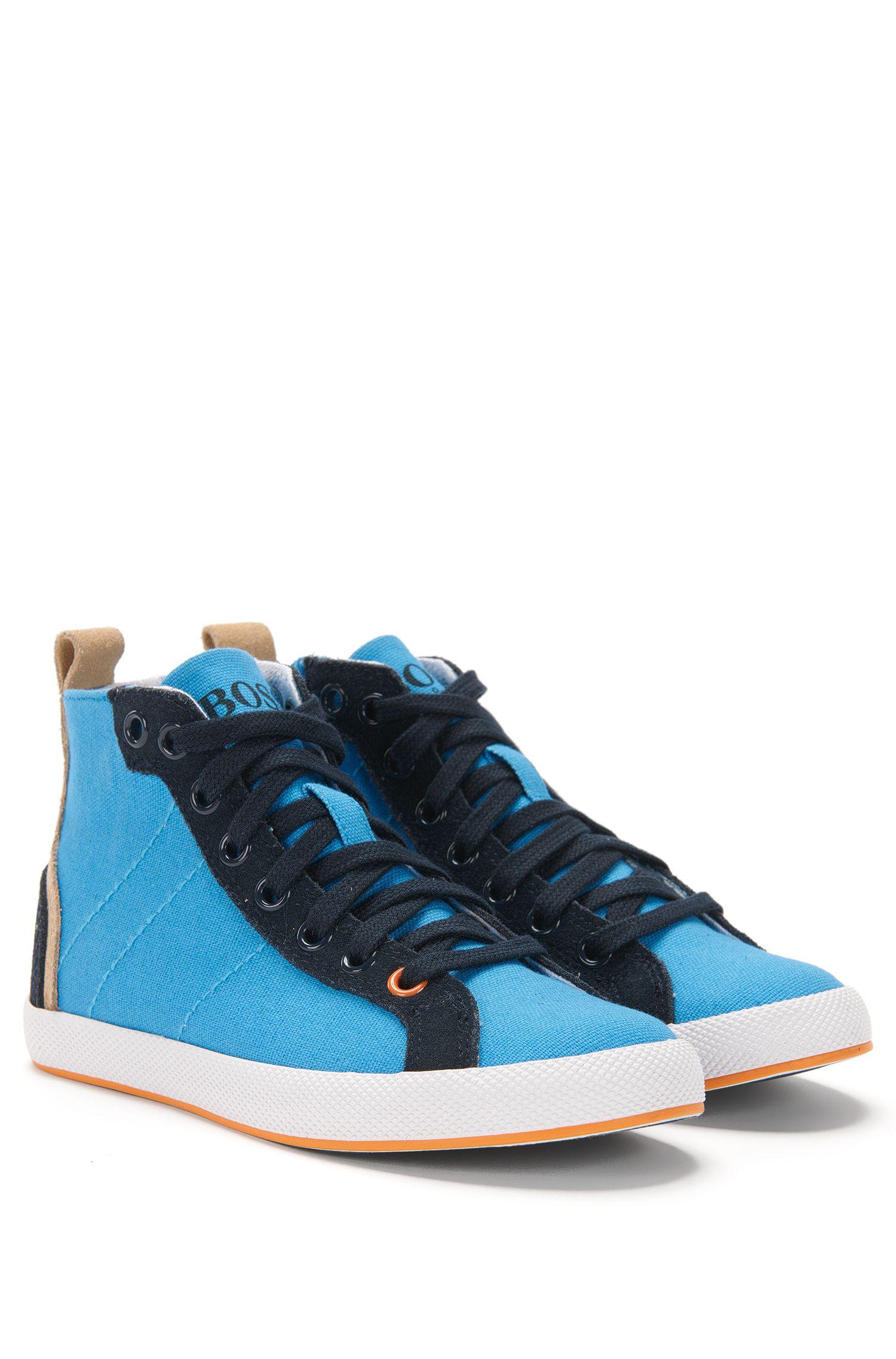 Knöchelhohe Kids-Sneakers aus Canvas mit Lederbesatz: 'J29112'