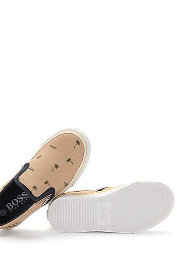 Kids-Sneakers aus Canvas mit Allover-Muster: 'J29117', Beige