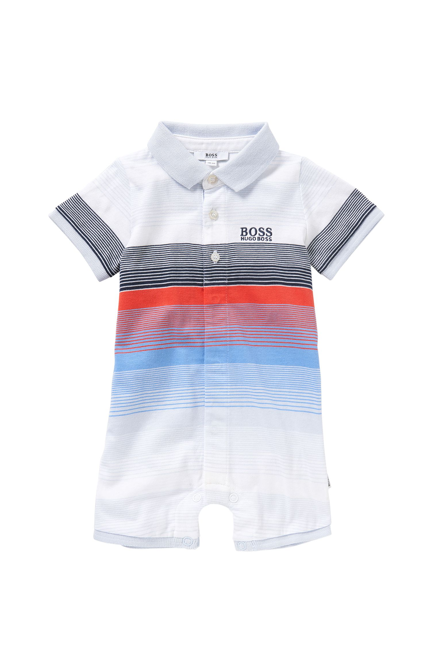 Multicoloured striped newborns' playsuit in cotton: 'J94159'